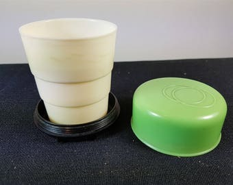 Vintage Bakelite Drinking Cup Travel Collapsible Folding Art Deco 1930's Lime Green and Black