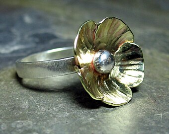 Sterling Silver and Brass Flower ring poppy ring buttercup ring nature jewelry - Poppy Fields