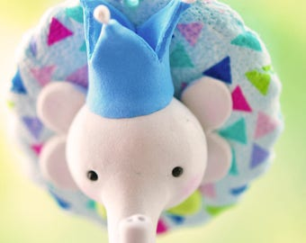 Handcrafted Clay Christmas Ornament - Elephant and Crown