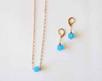 Turquoise Rose Gold Jewelry Set / Simple Modern Geometric Square Turquoise Chalcedony Gemstone Rose Gold Chain Necklace Earring Set