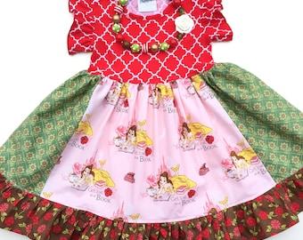 Disney Christmas dress Beauty and the Beast, Belle, Disney Christmas clothing,  Momi boutique custom dress