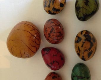 Tagua Beads FREE SHIPPING Set Of 8 One Large And Seven Smaller