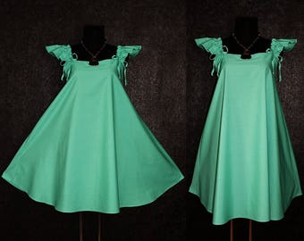 Cute Pastel Mint Green Summer Harajuku Style Retro Babydoll A-Line Dress Plus Size 14 16 18 1x