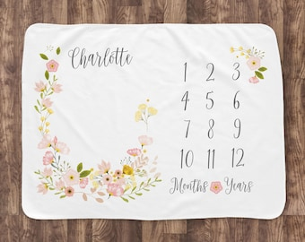 Baby Month Milestone Blanket- Blossom - Girl - Personalized Baby Blanket - Track Growth and Age - New Mom Baby Shower Gift