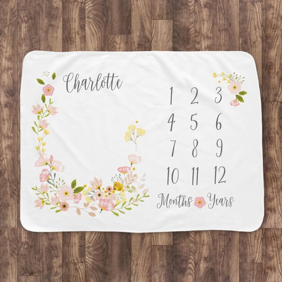 Baby Month Milestone Blanket Blossom Girl Personalized
