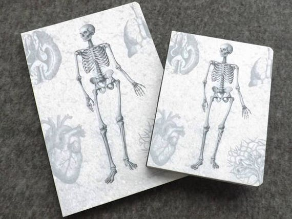 Felt Notebook Anatomy Gift medical school graduation skeleton doctor office male nurse artist sketch book memo pad notepad journal note goth