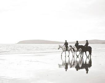 "Horses on the beach photograph, black and white wall art, California beach, minimal landscape, monochrome horse art print ""Mirrored"""