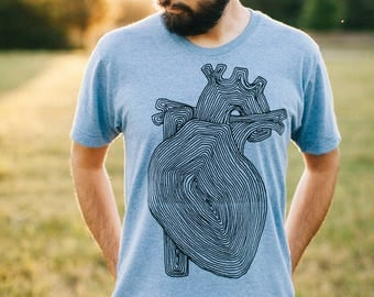 Anatomical Heart Shirt, Outdoor Gift for Him, Mens Tshirt, Heart Transplant, Blue Anatomy Tree T Shirt, Mens Graphic Tee, Nature Shirt