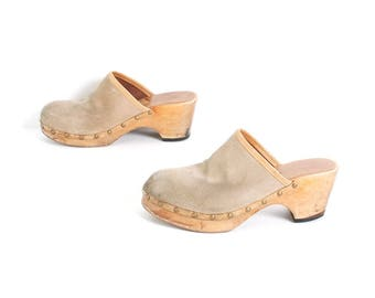 size 9 CLOGS tan leather 70s 80s WOODEN slip on platform mules
