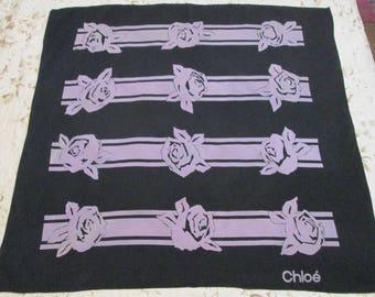 Chloé Silk Scarf Black and Gray Foulard Graphic Roses Designer Scarf