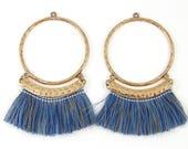Blue Brown Thread Earring Findings, Large Hoop Blue Brown Fringe Earring Dangles Boho Bold Hoop Statement Jewelry Supply |LG4-13|2