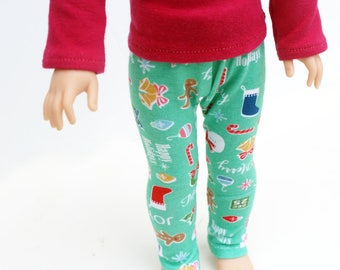 Fits like Wellie Wishers Doll Clothes - Merry and Bright Christmas Leggings