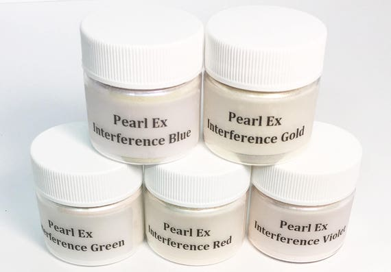 Pearl Ex Mica Pigment Powder 6 gm - 5 INTERFERENCE Colors Blue Green Violet Gold Red - Art Craft Paint Medium Collage Jewelry Pearl Finish
