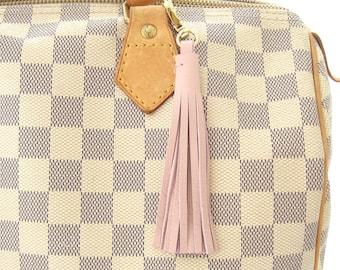 Tassel Bag Charm, Blush Pink Leather Tassel, Tassel Key Ring, Clip On Key Ring, Brass Purse Charm, Pink Leather Key Fob, Pink Tassel Charm