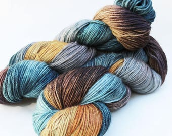 "Hand-dyed Superwash Merino Nylon Sock Yarn, 430 yards 4 oz,  fingering weight, Teal Aqua Brown Gold Gray ""Rock Climbing"""