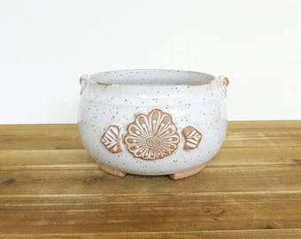 Stoneware Planter Pot in Glossy White Glaze, Rustic Speckled, Garden Handmade Pottery