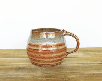 Pottery Mug in Shino and Sea Mist Glazes, Ceramic Cup, Rustic Stoneware Mug, Coffee Mug Handmade
