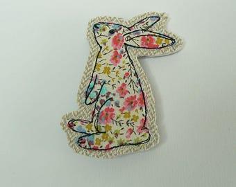 Liberty bunny handmade fabric brooch