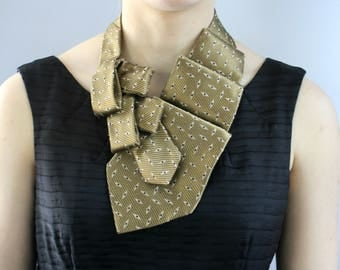 Necktie Scarf - Ascot Tie - Necktie Necklace - Women's Tie - Hipster Clothing - Upcycled Clothing - Equestrian Scarf - Gold Lauren Scarf. 6
