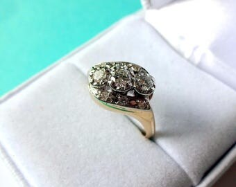Vintage 14k Gold Two-Tone Diamond Illusion Head Bypass Ring
