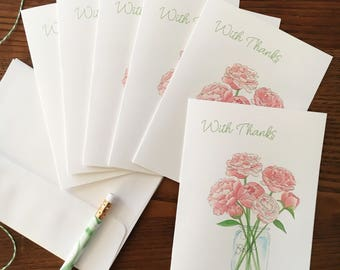 Peony Card. Watercolor Floral. Mason Jar Bouquet. Set of 6. Peonies Cards. Floral Stationery. Blank Card. Botanical Notecard. Gift Under 20