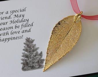 Leaf Ornament Gold, Real Leaf Evergreen, Leaf Extra Large, Ornament Gift, Christmas Card, Gold Plated Leaf, Tree Ornament, Wedding, ORNA99