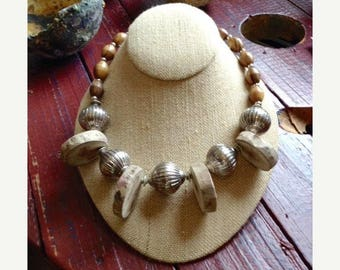 JULY SALE EVENT Natural Driftwood Beaded Necklace with Shell Accents - Gift Idea - Summer Necklace - Beach Necklace