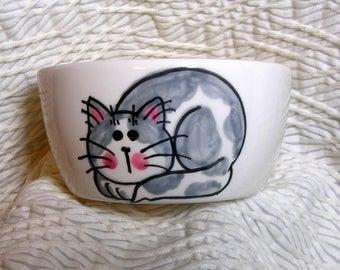 Gray Cat Mini Pottery Bowl 6 Oz.  Paw Prints Inside by GMS
