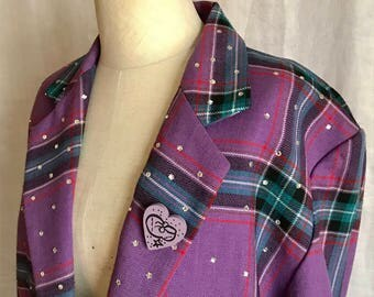 Maybe the BEST 80s Boxy Blazer Ever Plaid Bedazzled Criscione Over the Top Fabulous Totally Awesome