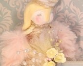 Lop eated bunny tree topper bunny centerpiece spring decor easter decor pastel vintage retro inspired art doll rabbit