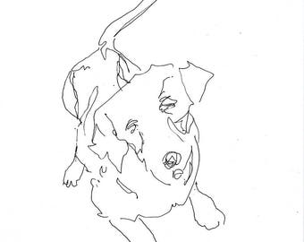 Sketchbook Sale - Dog #2 Original Ink Line Drawing - 8x10 Original Art