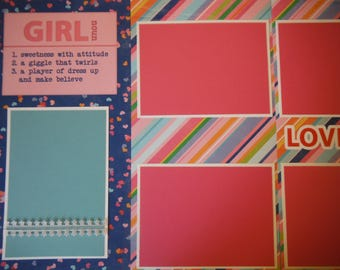 2  Girl  Love You 12x12 Premade Scrapbook Pages for your family