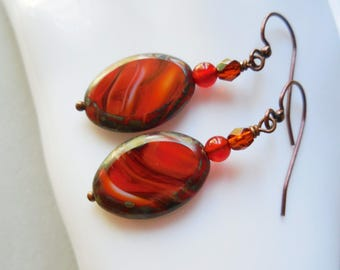 Fall earrings copper and glass beaded dangle earrings autumn leaves colors handmade women's jewelry Christmas gift New Year present for her