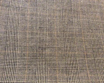 3 1/2 Yards of Vintage Taupe, Black & Brown Houndstooth Wool Blend Look Synthetic Fabric