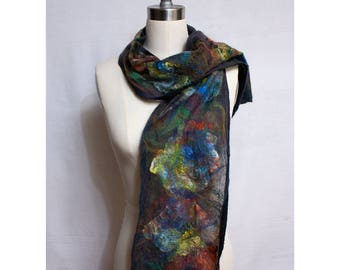 Nuno Felted Scarf on Black Silk Art To Wear