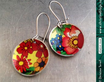 Vintage Overall Flowers -- Upcycled Tiny Basin Earrings