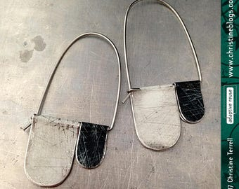 Antiqued Black & White Arch Dangles--Upcycled Tin Earrings
