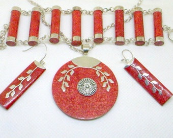 Vintage Coral Jewelry Set - Red Mediterranean Coral - Sterling Silver - Silver Inlaid Earrings - Bracelet - Big Pendant Near Mint Italy