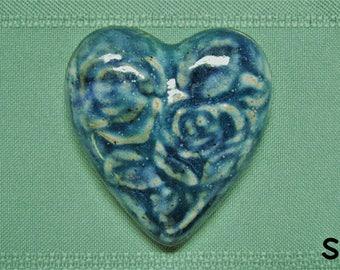 Heart Fridge Magnet with Rose Design - Royal Blue and Turquoise - Stoneware Handmade Girlfriend Boyfriend Anniversary Gift Wedding Favors