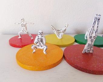 Yoga Figurines Mexican Inspired Day of the Dead Skeleton Halloween Decoration Los Maestros del Chakra Yoga Dia de los Muertos Statues