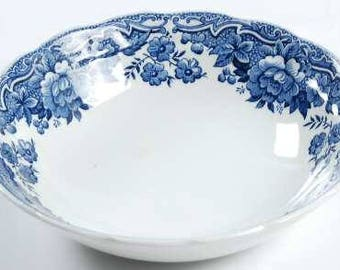 Coupe Cereal Bowl in Marlborough Blue by Ridgway, Blue & White China, Country Folk, Soup Bowl