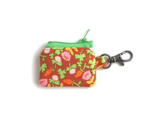 teensy tiny zipper pouch.  small coin purse. crochet knit stitch marker case. hearing aid pouch
