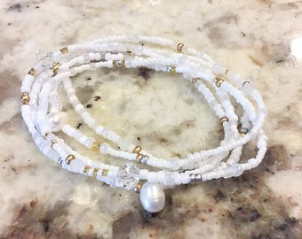 Pearl of the Sea Stretch Wrap Bracelet, Necklace, Stackable, Layering Accessory, Jewelry Crystals, Seed Beads, Wedding, Summer, Bridal White