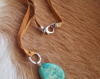 Turquoise Nugget Necklace - Leather Necklace - 16 inch - Sterling Silver - Southwestern Jewelry - Cowgirl Jewelry - Boho - Rustic Jewelry