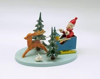 Vintage Christmas Decoration Wood Santa Steinbach US Zone Germany Sleigh Reindeer