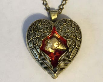 Angel Wings Red Heart Pendant with GP Greyhound Dog Memory Necklace