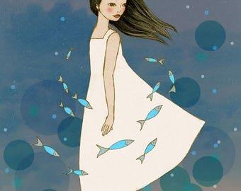 Sale Sea of Soul,  illustration art print of original drawing