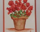 Watercolor Geraniums Card Watercolor Flowers Watercolor Geraniums Greeting Card Geranium Card Watercolors Cards
