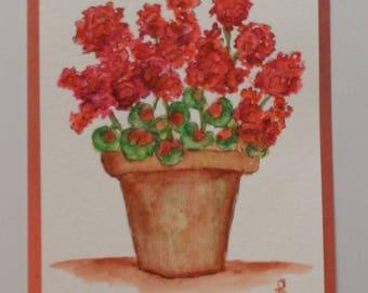 Watercolor Geraniums Card Watercolor Flowers Watercolor Geraniums Greeting Card