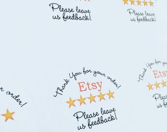 etsy feedback seller review stickers, Labels, various sizes, printed & shipped